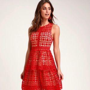 Larissa Red Crochet Midi Dress by Lulus